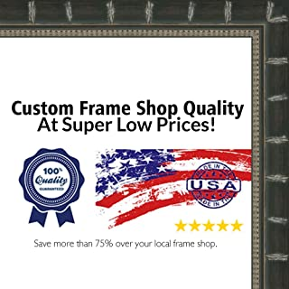 Poster Palooza 11x13 Bamboo Black Complete Wood Picture Frame with UV Acrylic, Foam Board Backing, Hardware