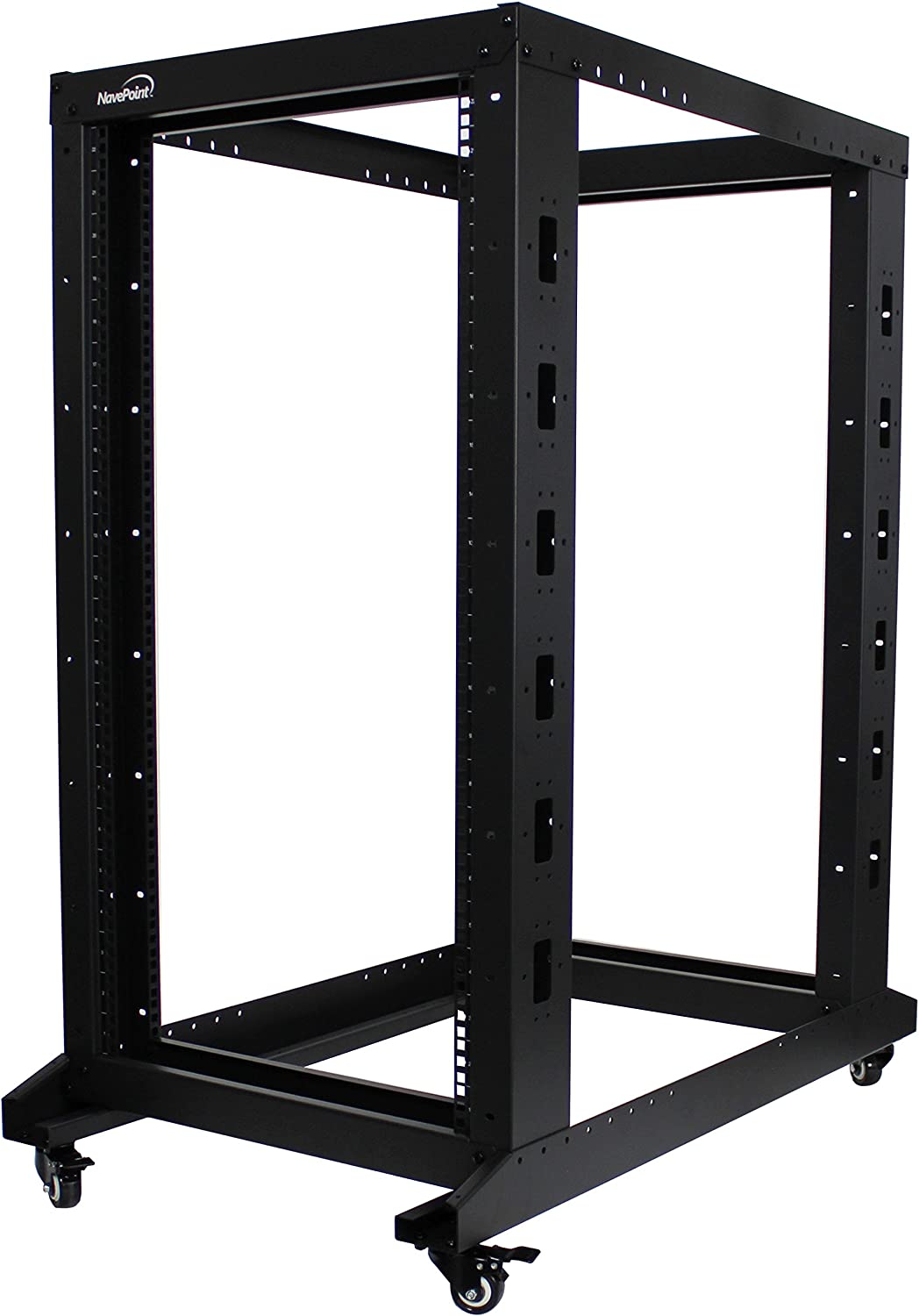 NavePoint 22U Professional 4-Post IT Open Frame Server Network Relay Rack 1000mm Casters Black