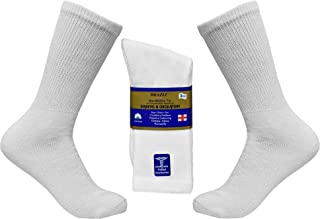 Diabetic Crew Socks Non-Binding Cushion Cotton Circulatory Socks Men's Women's 12 Pairs (White, Men's 10-13 Shoe Size 7-12)