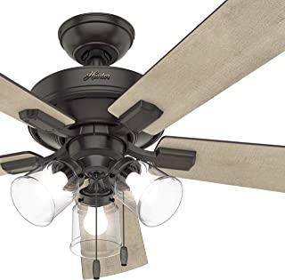 Hunter Fan 52 inch Casual Noble Bronze Finish Indoor Ceiling Fan with 5-Blades & LED Lights (Renewed)