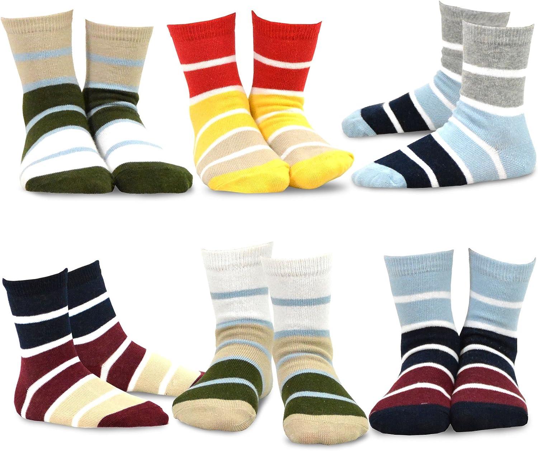 TeeHee Little Boys Basic Cotton Crew Socks 6 Pair Pack (6-8 Years, Rugby Stripe)
