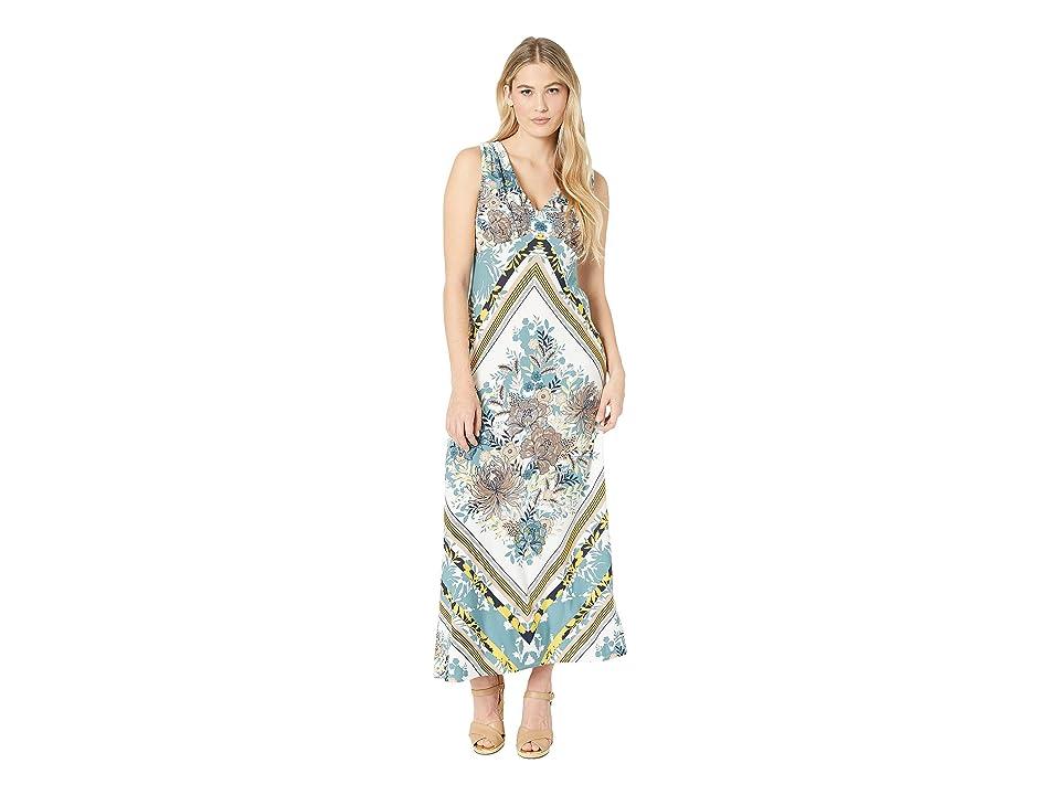 London Times V-Neck Scarf Print Maxi Dress (White/Denim) Women
