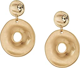 Gold Disc Double Drop Earrings