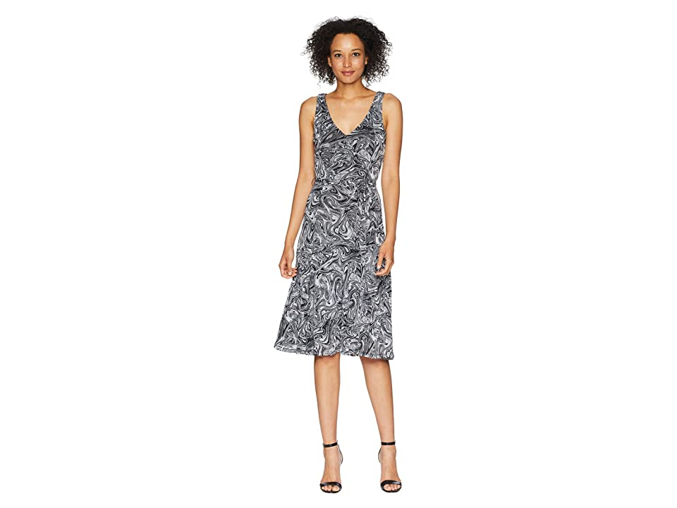 MICHAEL Michael Kors Watermark Tank Flare Dress (White/Black) Women