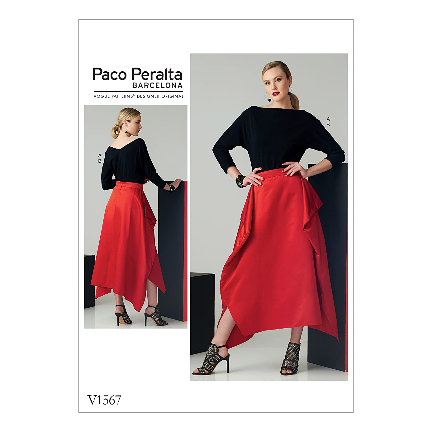Vogue Patterns V1567E50 Women's Top and Draped Skirt Sewing Pattern by Paco Peralta Sizes 14-22