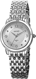 August Steiner Women's Diamond Dress Watch - Textured Gemstone Dial with Big Number Hour Markers on Silver Tone Stainless ...