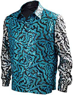 Mens Tiger King Shirt Joe Exotic Shiny Sequins Button Down Dress Shirt
