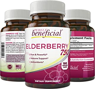 Organic Sambucus Elderberry- 180 Vegan Capsules- 100% Pure All Natural Immune Booster, Skin Health & Powerful Antioxidant ...