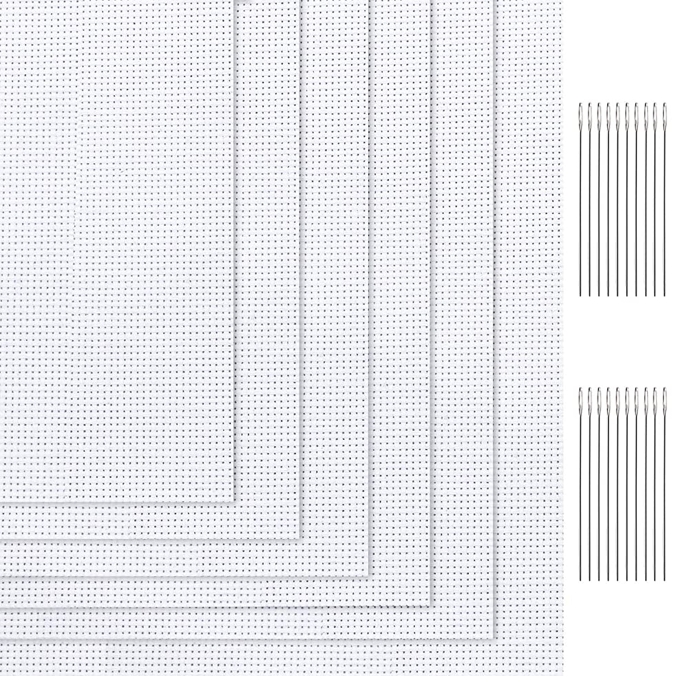Tatuo 6 Pieces White Classic Reserve Aida Cloth Cross Stitch Cloth with 20 Pieces Large Eye Needles, 12 by 18 Inch, 11 Count