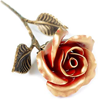 Hand Forged Iron Rose - Wedding Anniversary for Her | Red Metal Rose