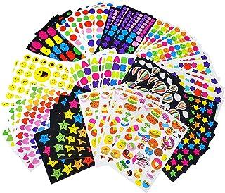 MOKIU 65 Feuilles Gommettes Autocollant (Plus de 4000 Gommettes) Autocollant en Coeur Étoiles Pois Colorés Stickers pour S...
