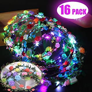 16 Pack LED Flower Crown Glow in The Dark Halloween Party Favors, Light Up Wreath Flower Headband with 10 LED Flower,Luminous Headdress LED Flower Headband for Girls Women Wedding Birthday Party Gift