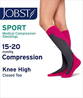 JOBST Sport Knee High 15-20 mmHg Compression Socks, Pink/Grey, X-Large