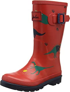 Joules Kids Boy's Printed Welly Rain Boot (Toddler/Little Kid/Big Kid) Red Dinosaur 12 Little Kid