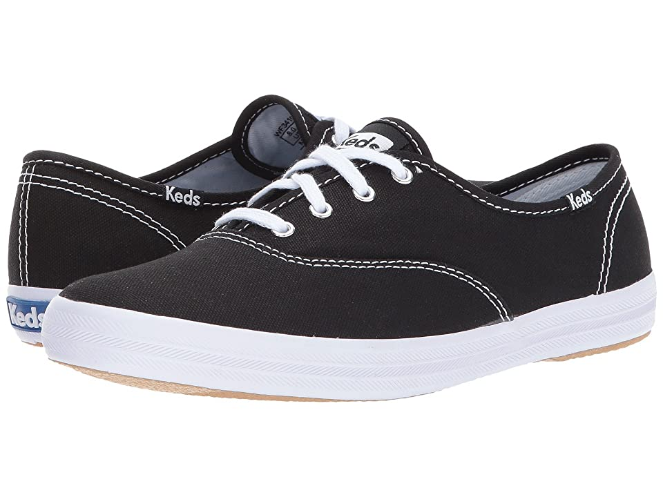 Retro Vintage Flats and Low Heel Shoes Keds Champion-Canvas CVO Black Canvas Womens Lace up casual Shoes $45.00 AT vintagedancer.com