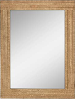 Stonebriar Rectangle Natural Wood Hanging Wall Mirror, Medium, Brown