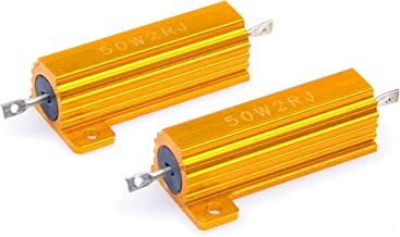 LM YN 2 Pcs 50 Watt 2 Ohm 5% Wirewound Resistor Electronic Aluminium Shell Resistors Gold Suitable For Inverter, LED lights, Speakers, Frequency Divider, Servo Industry And Other Industrial Control