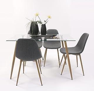 Conjunto de Comedor Cairo con Mesa de Cristal de 120x80 + 4 sillas tapizadas