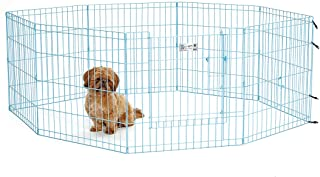 MidWest Homes for Pets Exercise Pen for Pets with Full Max Lock Door, 24-Inch, Blue