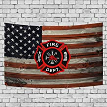 Donnapink Wall Tapestry Fire Department Logo Firefighter Fire Rescue 60