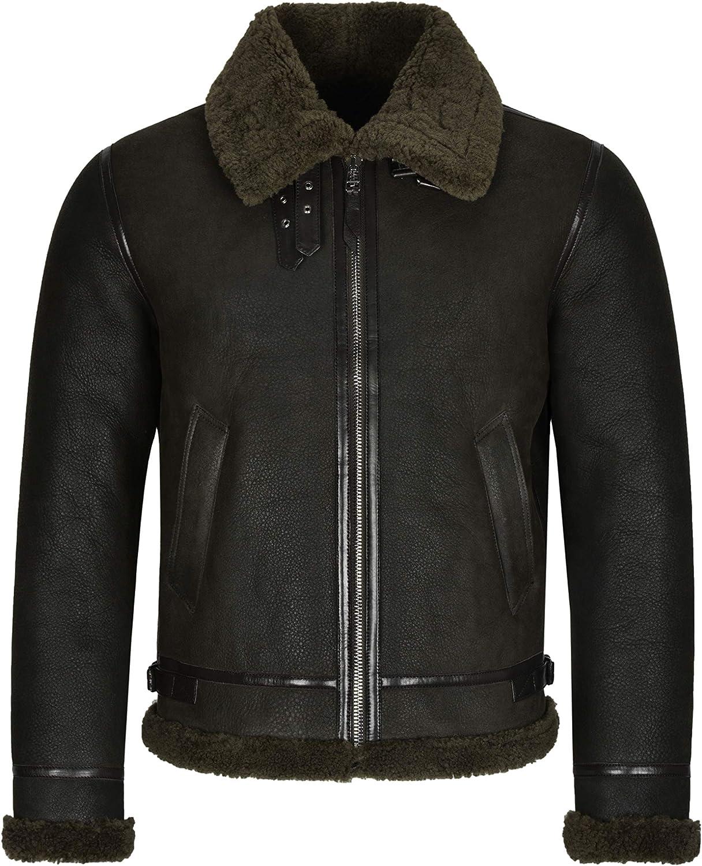 Men's Real Sheepskin Flying Leather Jacket Olive Fur B3 Bomber Shearling Pilot Reagan