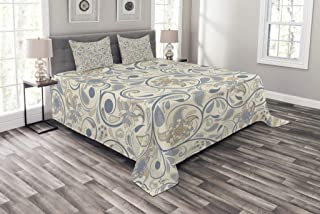Ambesonne Vintage Bedspread, Oriental Scroll with Swirling Leaves with Eastern Design Inspirations, Decorative Quilted 3 Piece Coverlet Set with 2 Pillow Shams, King Size, Slate Blue