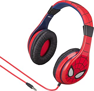 eKids Spiderman Kids Headphones, Adjustable Headband, Stereo Sound, 3.5Mm Jack, Wired Headphones for Kids, Tangle-Free, Volume Control, Foldable, Childrens Headphones Over Ear for School Home, Travel