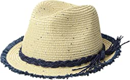San Diego Hat Company Kids Paperbraid Fedora w/ Color Pop Fray Edge (Little Kids/Big Kids)