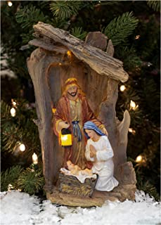 Three Kings Gifts The Original Gifts of Christmas Driftwood Creche Holy Family LED Light-up 14 x 8.5 Resin Stone Nativity Table Top Figurine