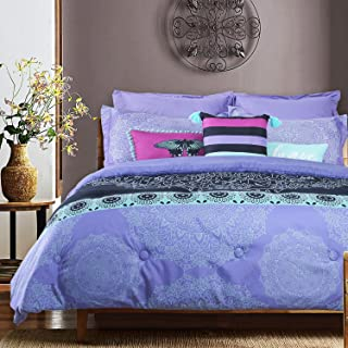 GS Home Fashions 8 Piece Comforter Set Queen- Posey Medallion Printed Ultra Soft Brushed Microfiber Bed Comforters Warm and Cozy Bedding Collection 1 Comforter, 2 Shams, 2 Euro Shams, 3 Accent Pillows