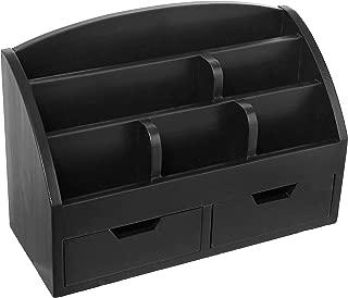 Modern Wood 6-Compartment Desktop Organizer, 2-Drawer Office Supplies Desk Caddy, Black
