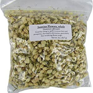 2 Oz Jasmine Flowers Whole (Jasminum officinale), for Spells, Tinctures, Rituals, Charms, Magick, Meditation, Cleansing, Pagan, Wicca, Incense Making, and Soap Making