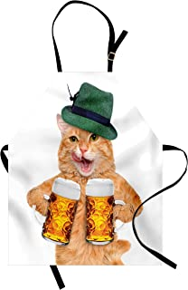 Ambesonne Cat Apron, Cool Cat with Hat and Beer Mugs Bavarian German Drink Festival Tradition Funny Humorous, Unisex Kitchen Bib with Adjustable Neck for Cooking Gardening, Adult Size, Pale Orange