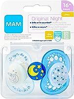 MAM Chupete Original Night S175 - Chupete con Tetina de Látex, para Bebé de 16+ meses, brilla en la oscuridad - Azul (2...