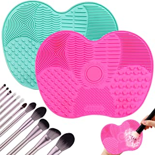2PCS Makeup Brush Cleaning Mats,Silicone Makeup Brush Cleaner With Suction Cup,Portable Washing...