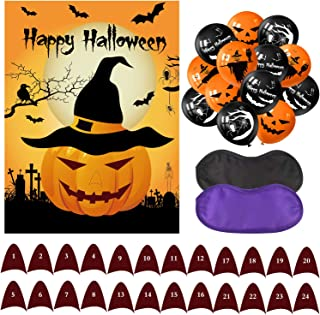 TUPARKA Pin The Nose on The Pumpkin Halloween Party Games with 24 Noses and 20Pcs Halloween Balloons for Halloween Party Favors, Halloween Decorations
