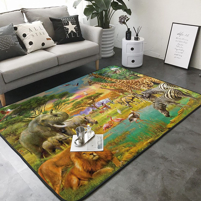 Jungle Animals Safari 通信販売 Elephant 海外並行輸入正規品 Giraffe Ba Flamingo Outdoor Rug