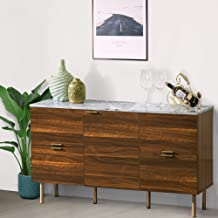 GOOD & GRACIOUS Sideboard Cabinet, Mid Century Modern Console Storage Buffet Credenza Cabinet, Faux Marble Top with 4 Draw...