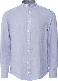 Hackett Men's Garment Dyed Linen Shirt Blue