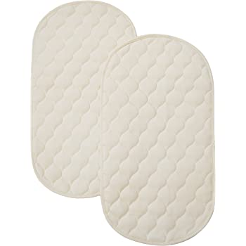 TL Care Waterproof Quilted Playard Changing Table Pads Made with Organic Cotton, 2-Count, Natural Color