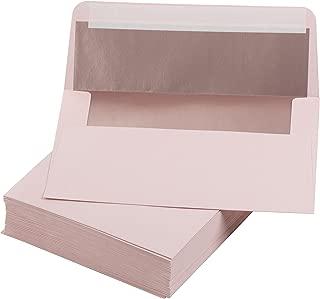 5x7 Envelopes for Invitation- 50-Pack A7 Foil Lined Square Flap Envelopes, Envelopes for Announcements, Photos, Wedding, Graduation, Birthday Blush Envelope Blush with Rose Gold Foil