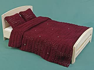 Bed linen set for 12 inch doll, afghan blanket, double bed for dollhouse 1:6 scale, bedding cover, pillows, barbie furniture, openwork cushion