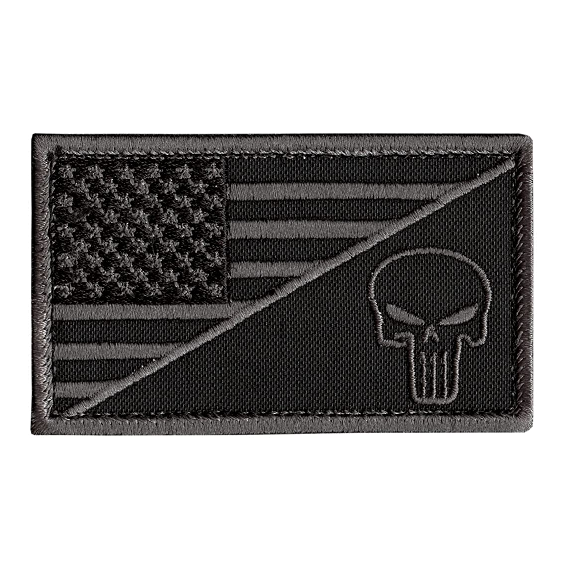 LEGEEON Black Subdued USA Flag Punisher Skull ACU Navy Seals Morale Army Gear Hook-and-Loop Patch