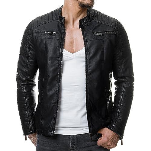 d3746282537 Red Bridge Men s Faux Leather Genuine Jacket Transition Biker Ribbed  Fashion Cotton Coats