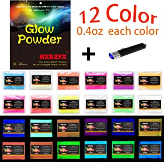 HXDZFX Glow in The Dark Pigment Powder Luminous Powder(Set of 12 Packs 0.4oz Each + UV Lamp) Safe Non-Toxic,for Slime,Nails,Epoxy Resin,Acrylic Paint,Halloween,Fine Art and DIY Crafts