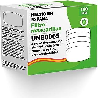 [ENVÍOS EN 24H] KALLPA® Pack de 100 filtros para mascarillas UNE0065 - REUTILIZABLES - fabricados en España - hidrófobo, a...