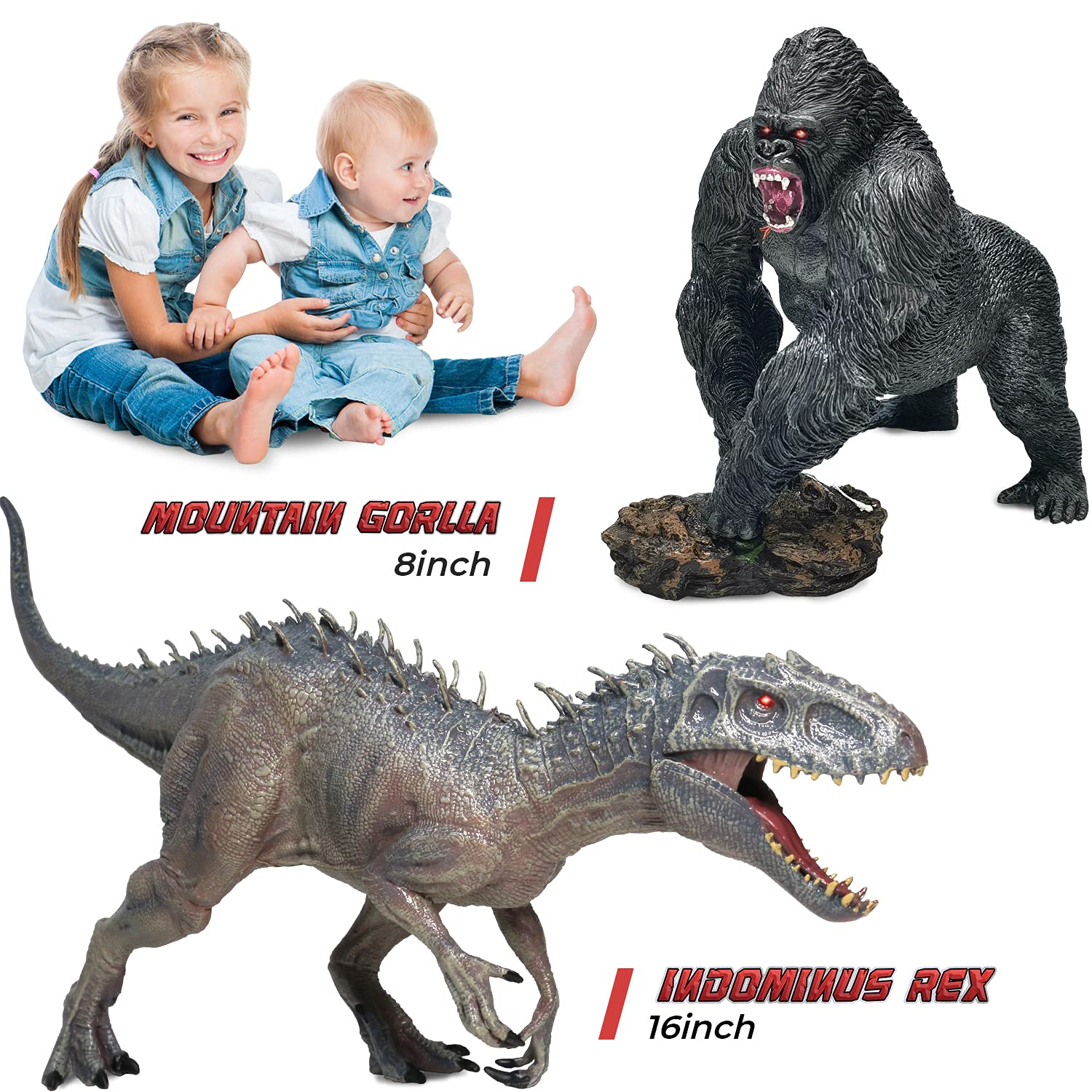 """CPSTOYWORLD Jumbo Dinosaur Toy Indominus Rex and Gorilla Toys Set,16"""" Realistic Educational Large Dinosaur Action Figures Wildlife Animal Model, Great for Collector, Home Decoration, Party Favor…"""