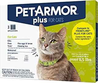 PETARMOR Plus Flea & Tick Prevention for Cats with Fipronil, Waterproof, Long-Lasting & Fast-Acting Topical Cat Flea Treat...