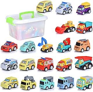 FORMIZON 20 PCS Vehicules de Chantier, Petite Voiture Miniatures, Jouets Voiture Friction Camion Véhicules de Construction...