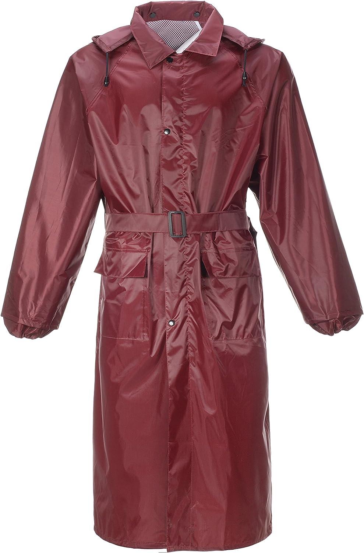 QZUnique Women's Men's Lightweight Long Outdoor Ripstop Waterproof Packable Rain Jacket Zipper Raincoat with Hood